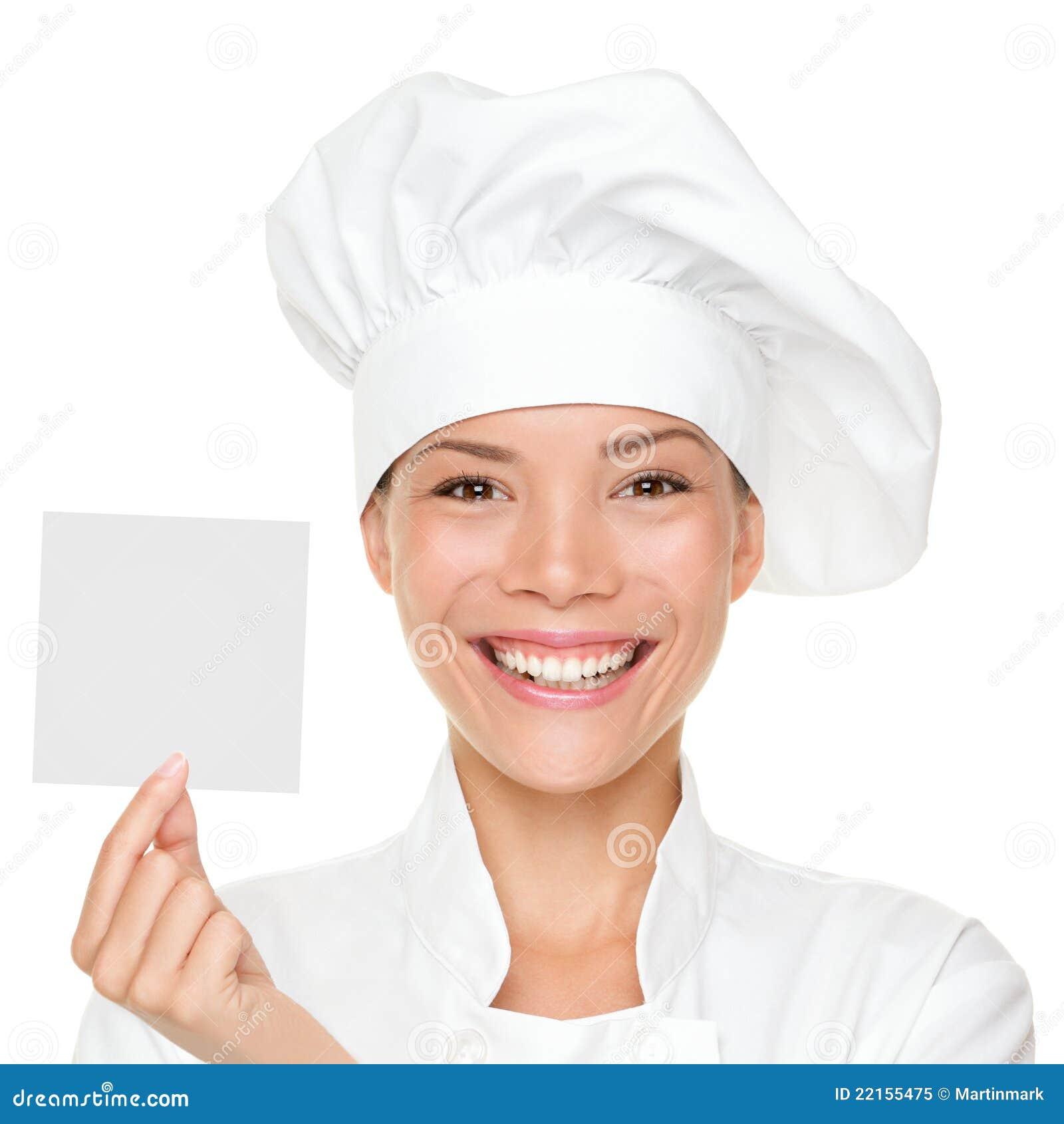 Chef-kok die tekenkaart toont