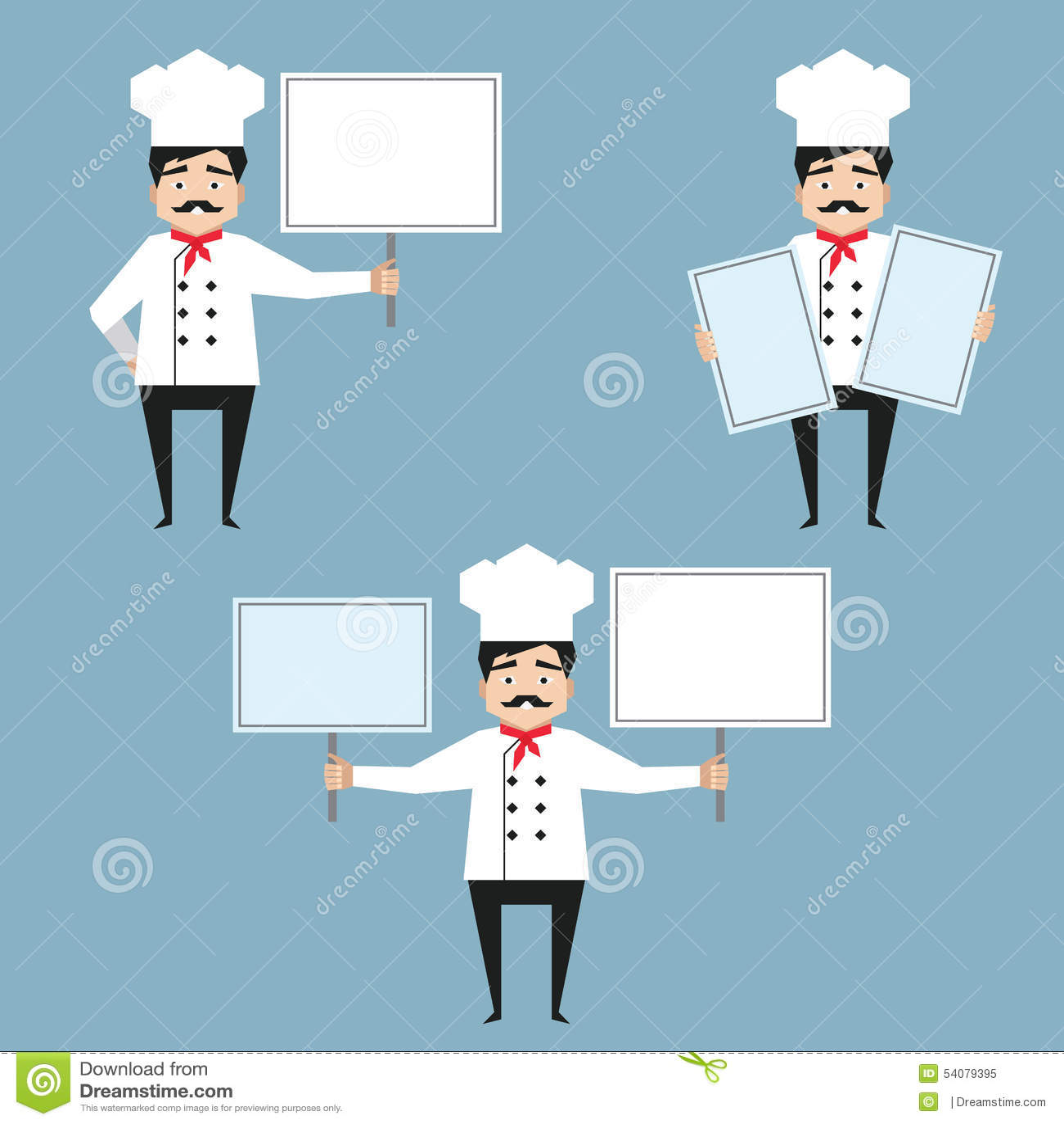 Chef-kokkarakters die witte banners houden
