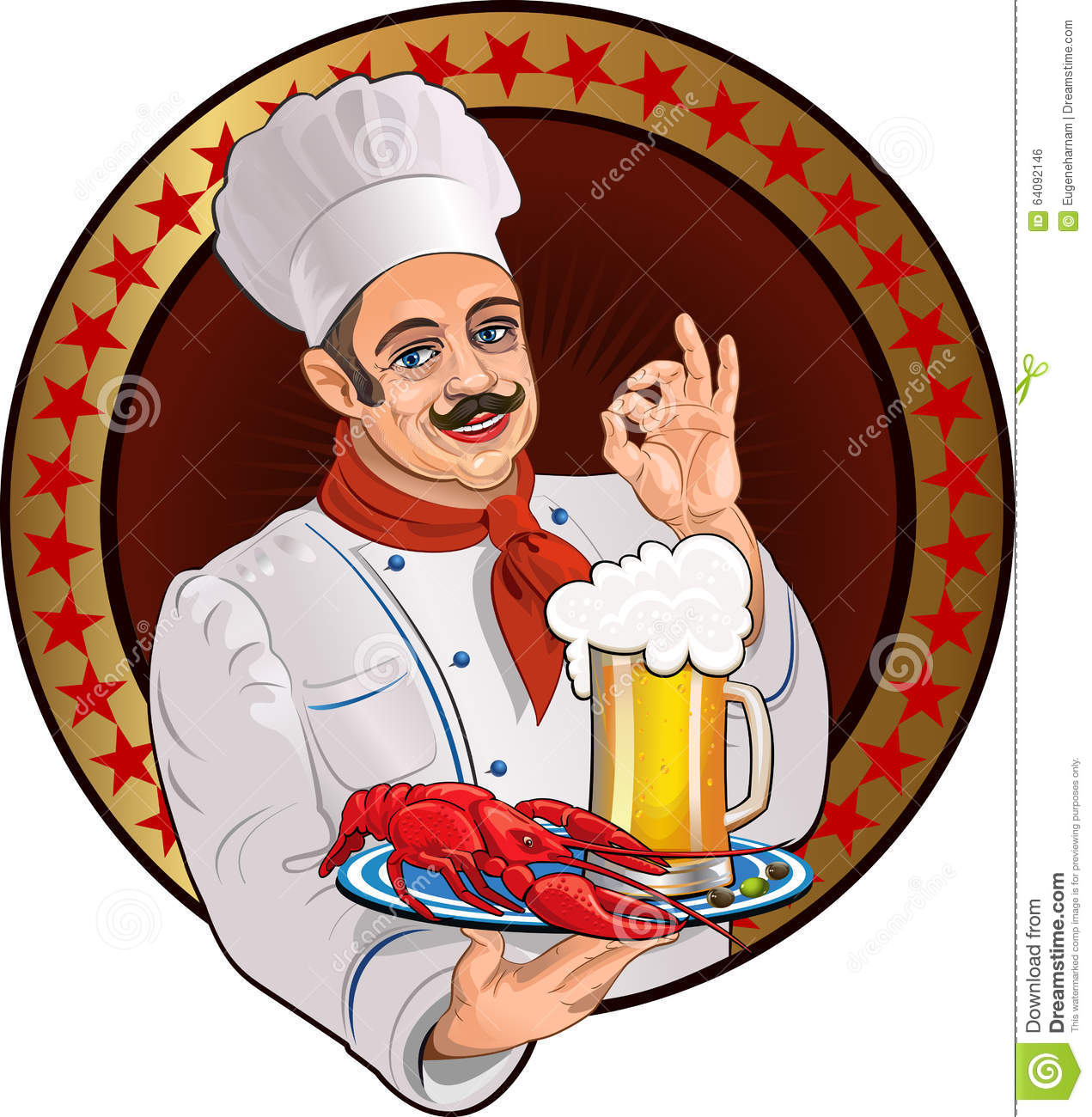 Chef Lobster And Beer Illustration ...