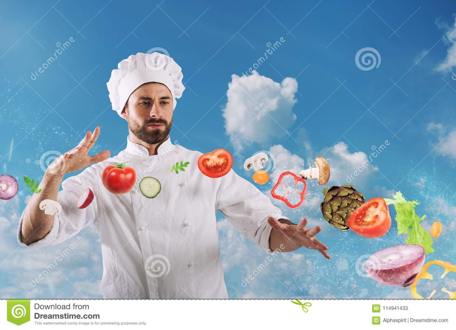Chef magique prêt à cuisiner un nouveau plat