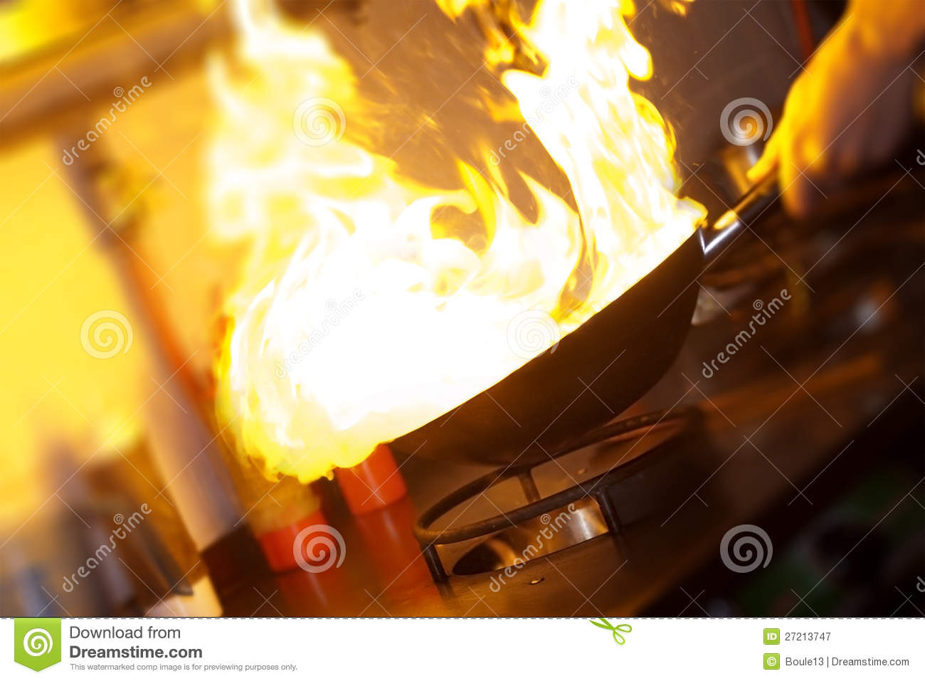 Chef is making flambe