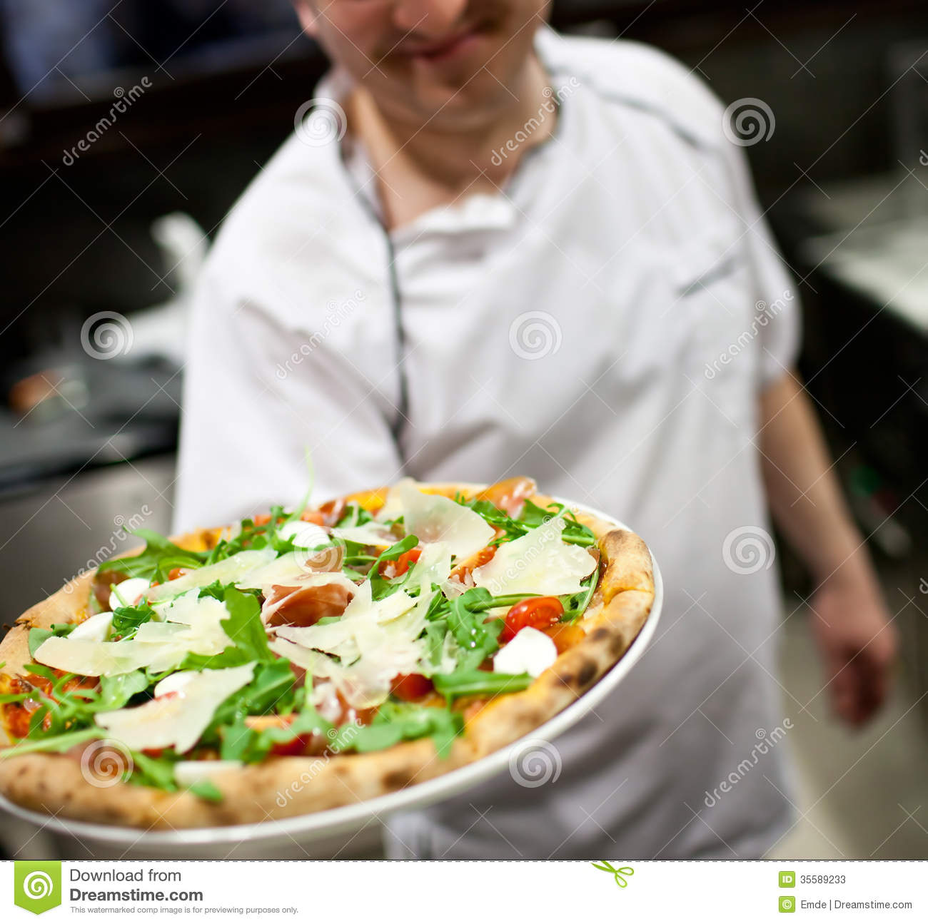 Chef Making Pizza At Kitchen Stock Photos Image 35589233
