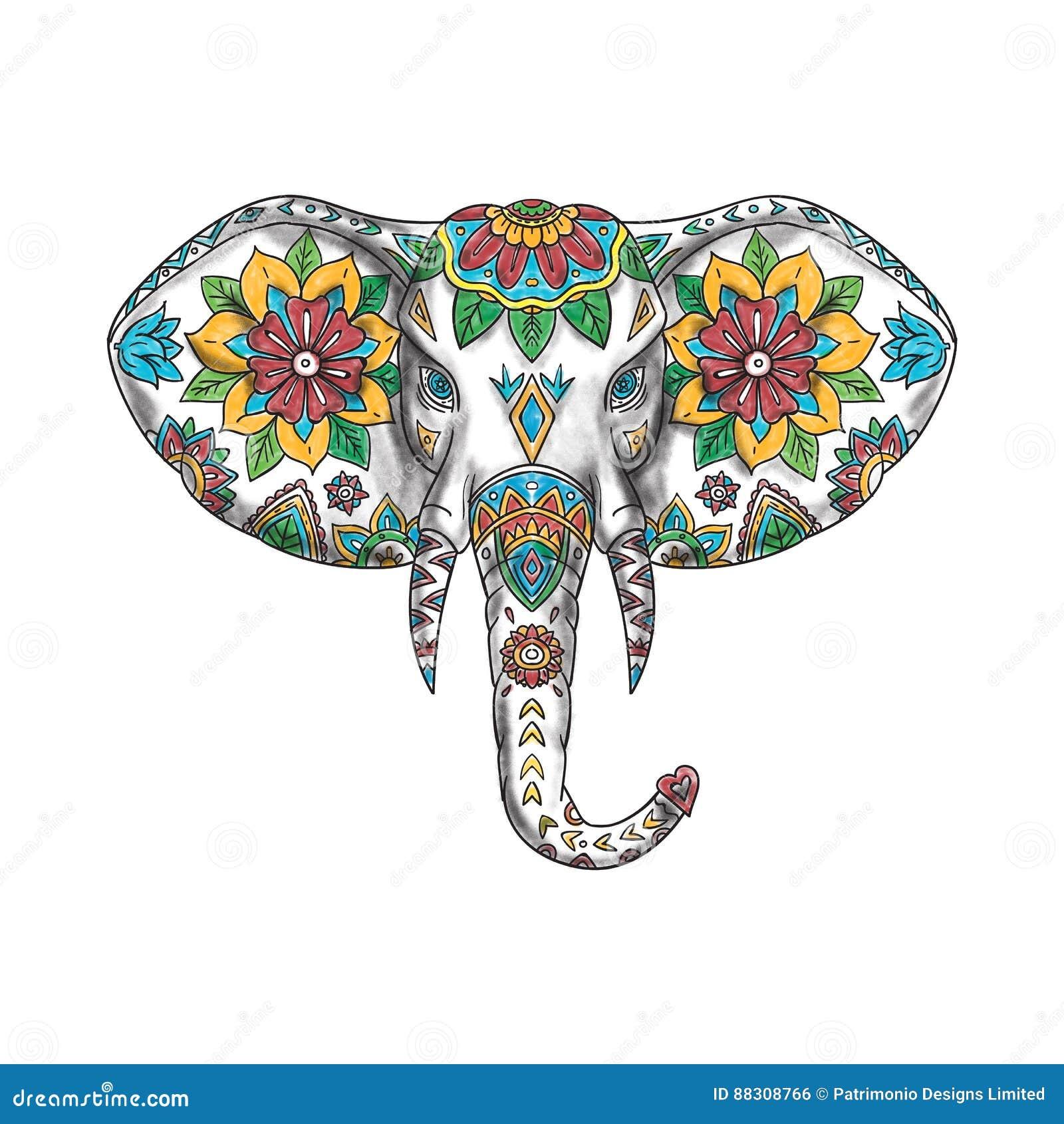 Chef Mandala Tattoo Déléphant Illustration Stock Illustration Du