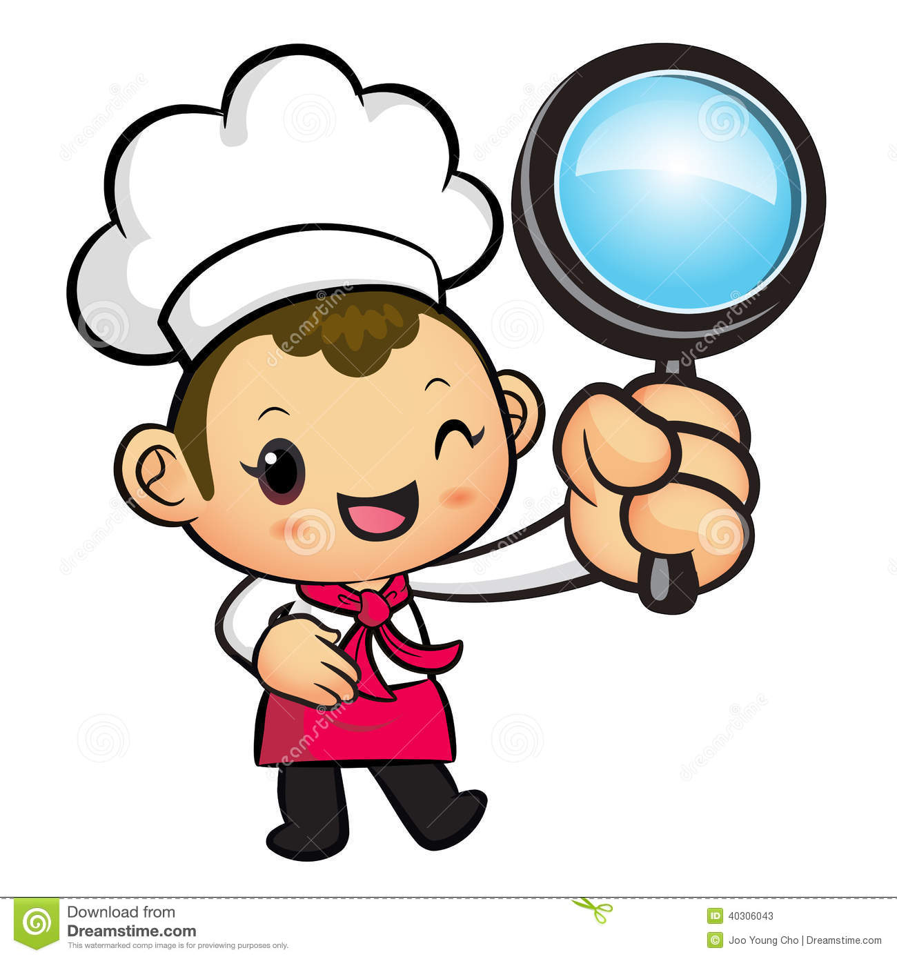 Character Design Careers : Chef mascot examine a with magnifying glass work and