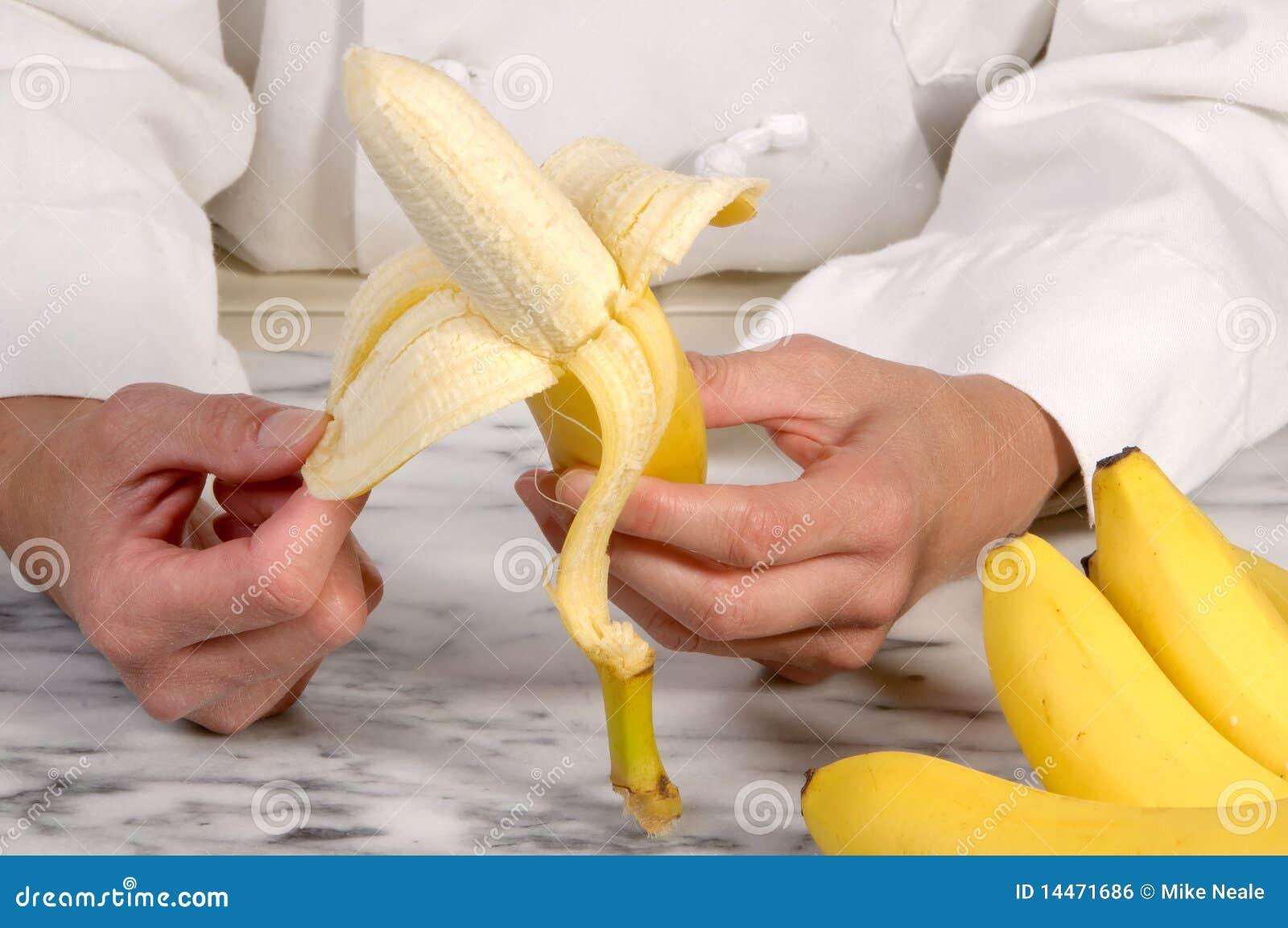 Chef Peeling Banana Stock Photo Image Of Fresh Healthy