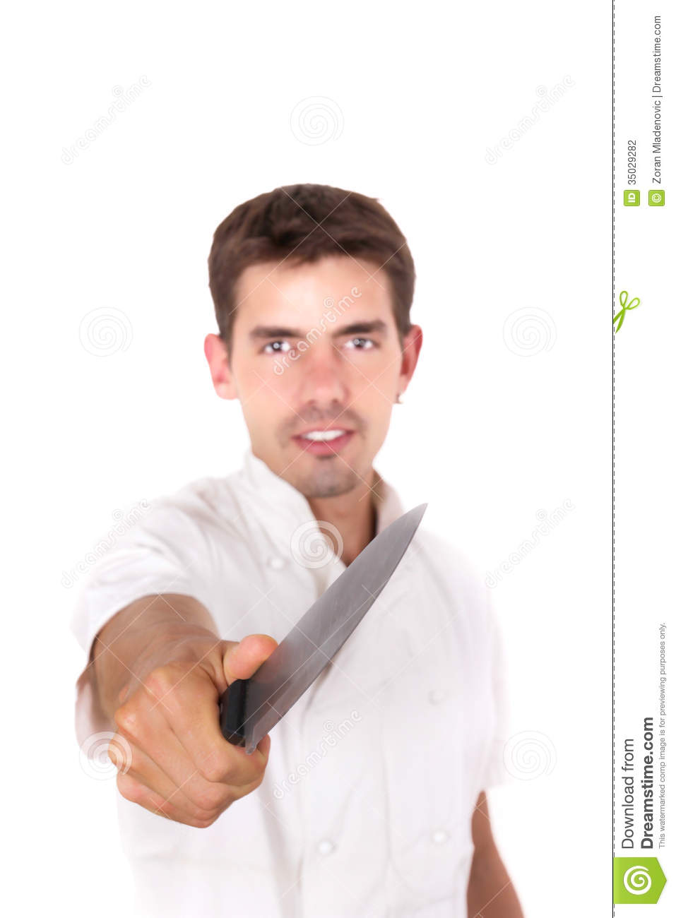 Chef Pointing With The Knife Stock Photography Image