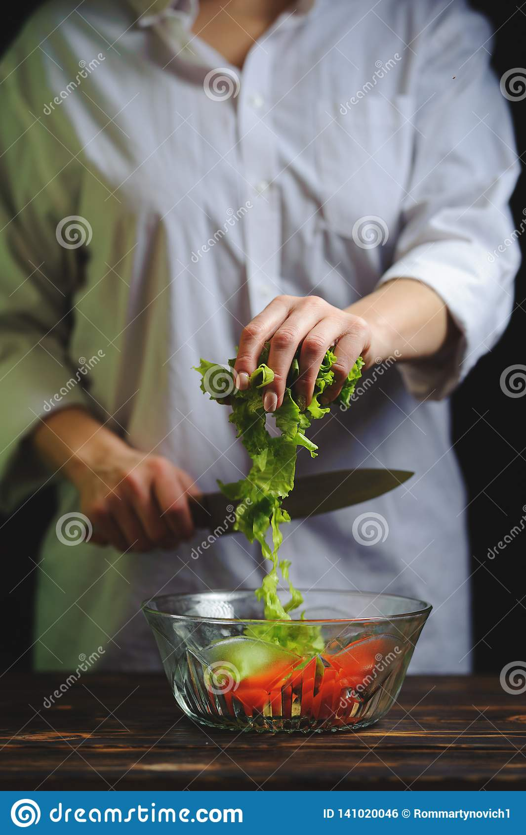 The Chef Prepares A Vegetarian Vegetable Salad Stock Photo Image