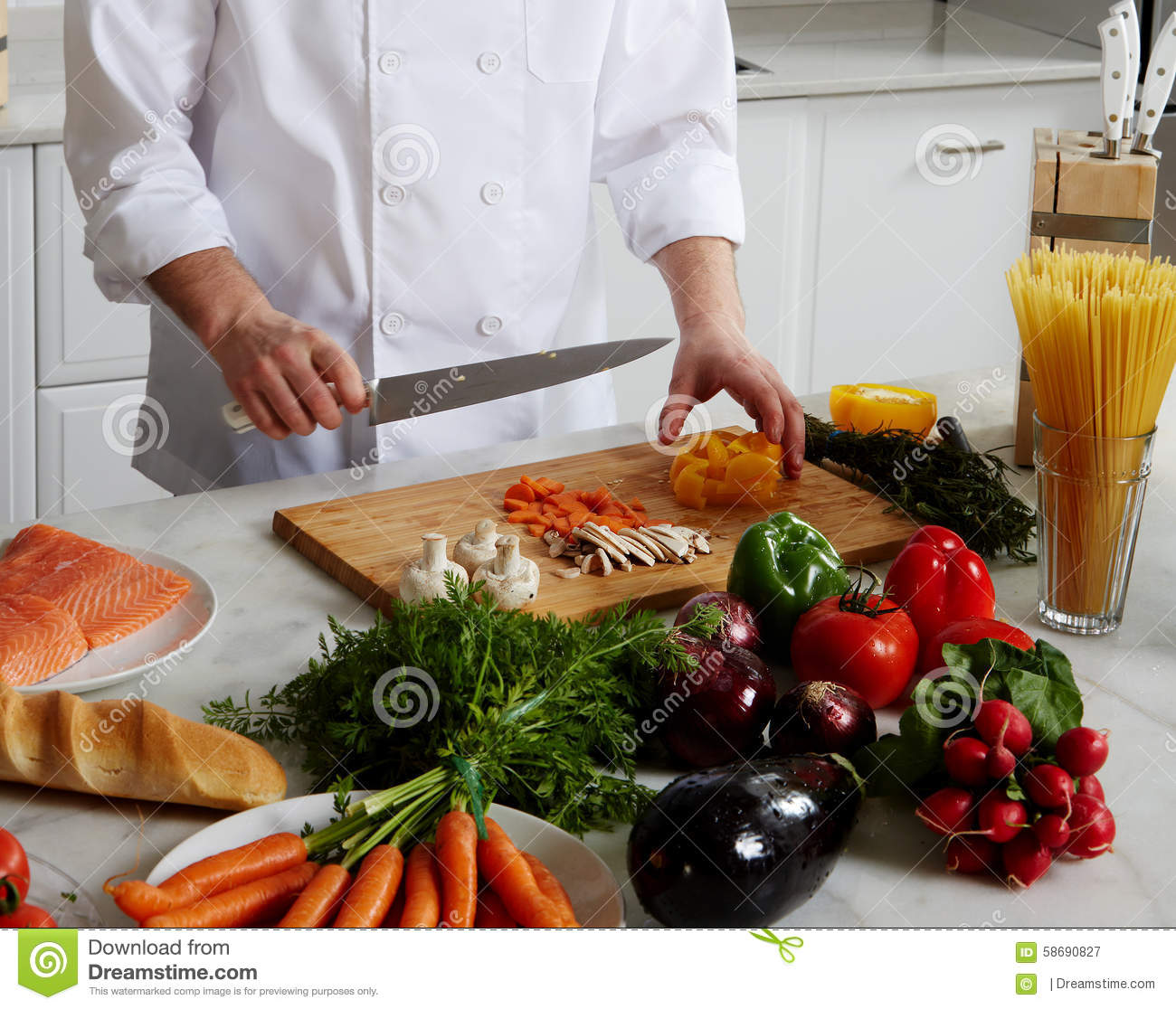 Chef preparing different dishes stock photo image 58690827 for Different ways to cook fish