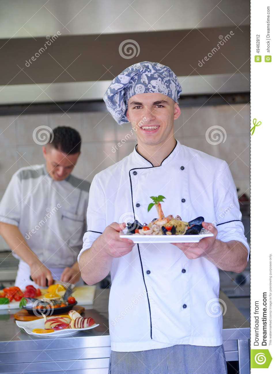 Chef preparing food stock photo image of profession for Cooking white fish