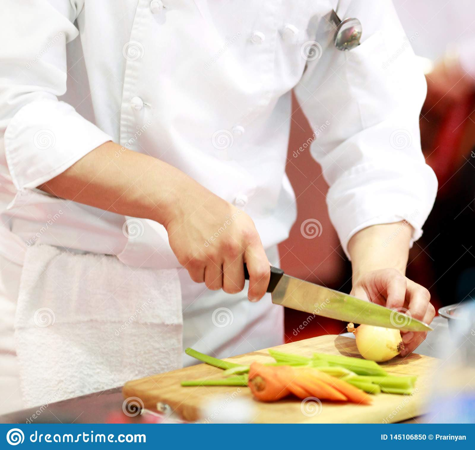 Chef Preparing Food Meal In The Kitchen Cooking Decorating Dish Stock Photo Image Of 145106850