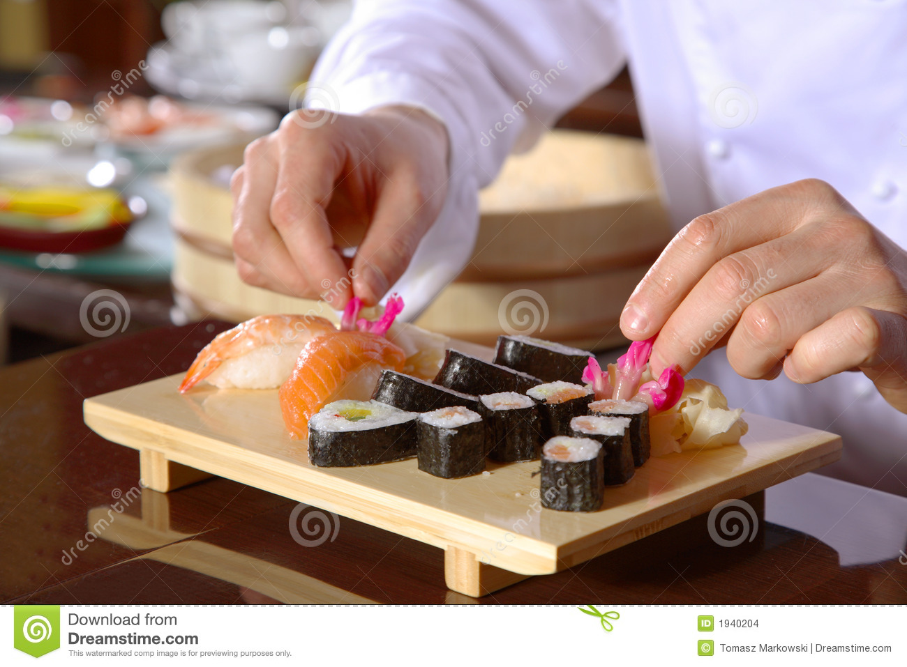 Chef Preparing Sushi Stock Images - Image: 1940204