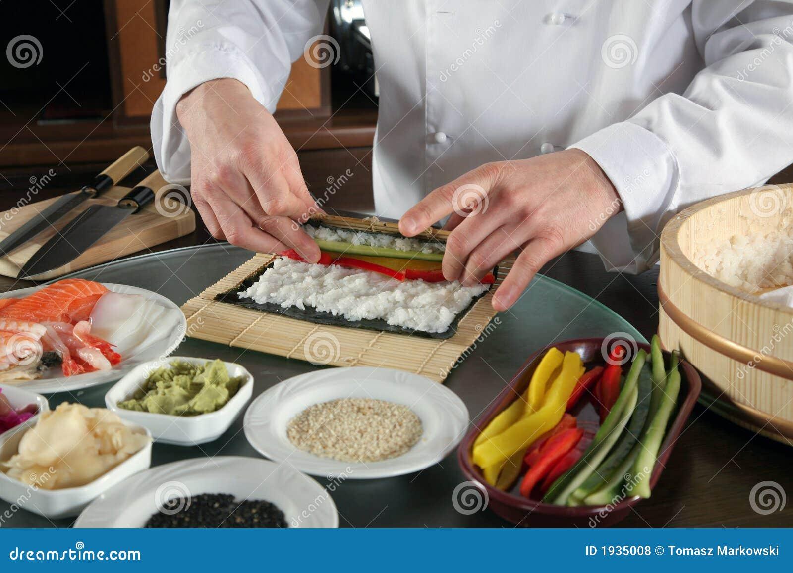 Chef Preparing Sushi 3 Royalty Free Stock Photos Image