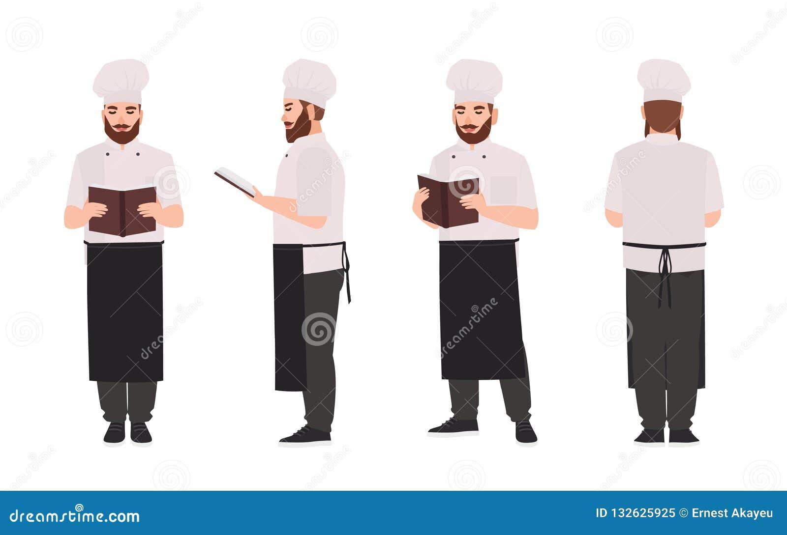 Chef Recette De Port De Lecture D Uniforme Et De Toque De