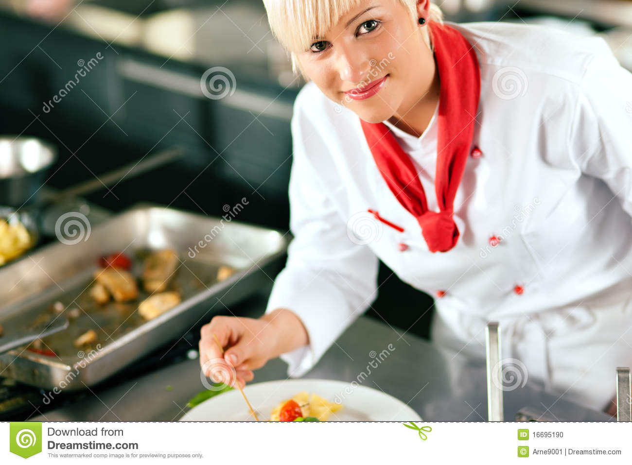 Chef Kitchen Female Chef Restaurant Kitchen Cooking Stock Photos Images