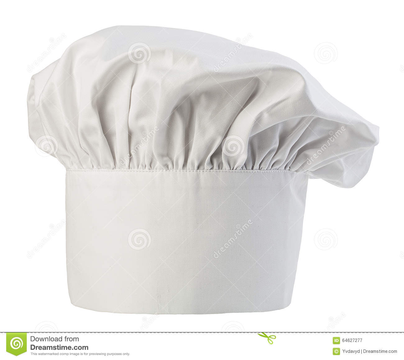 Chef s hat close-up isolated on a white background. Cooks cap.