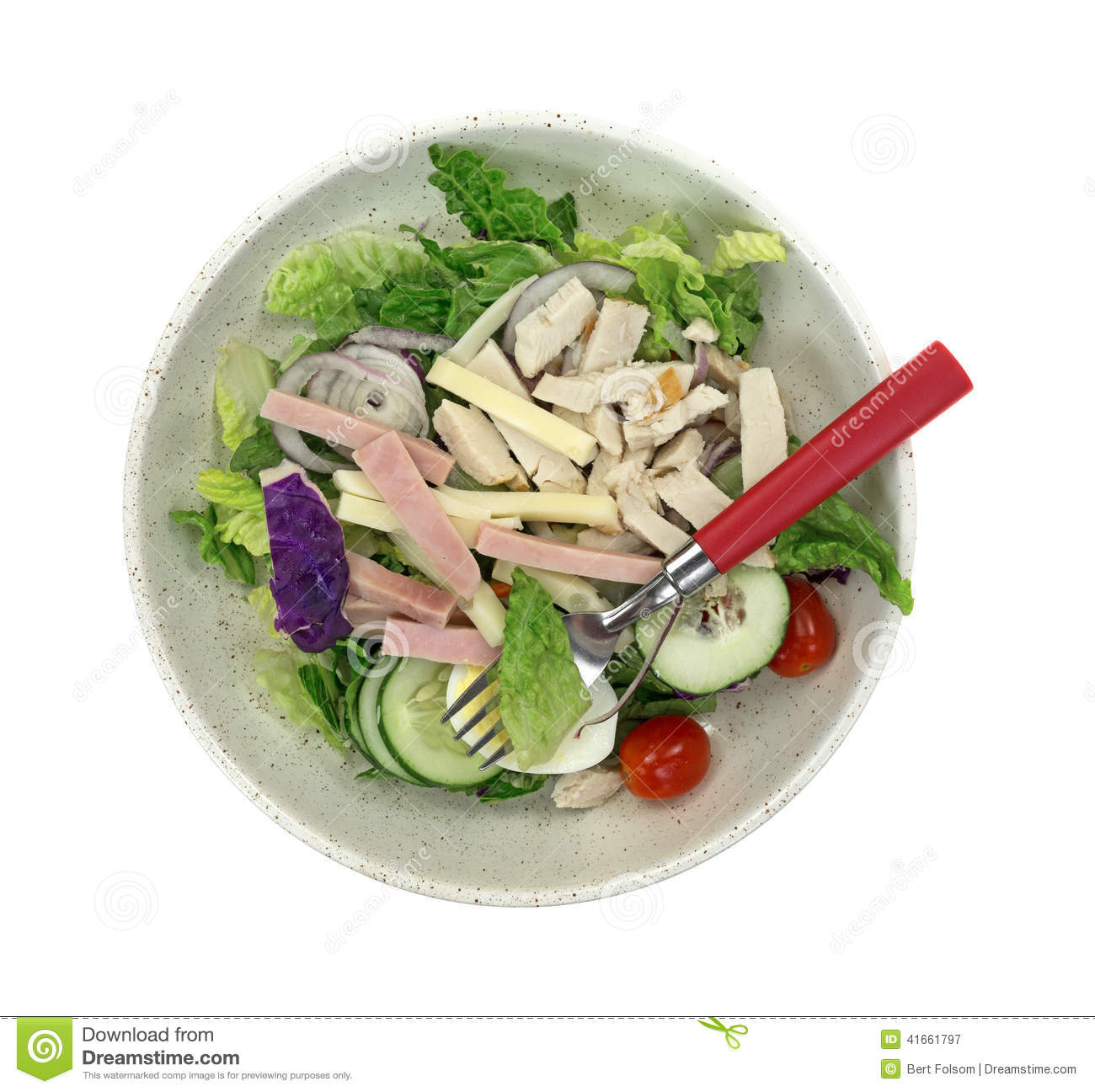Chef Salad In Bowl With Fork Stock
