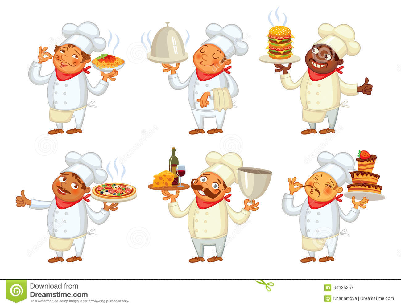 Chef Serving The Dish Funny Cartoon Character Stock
