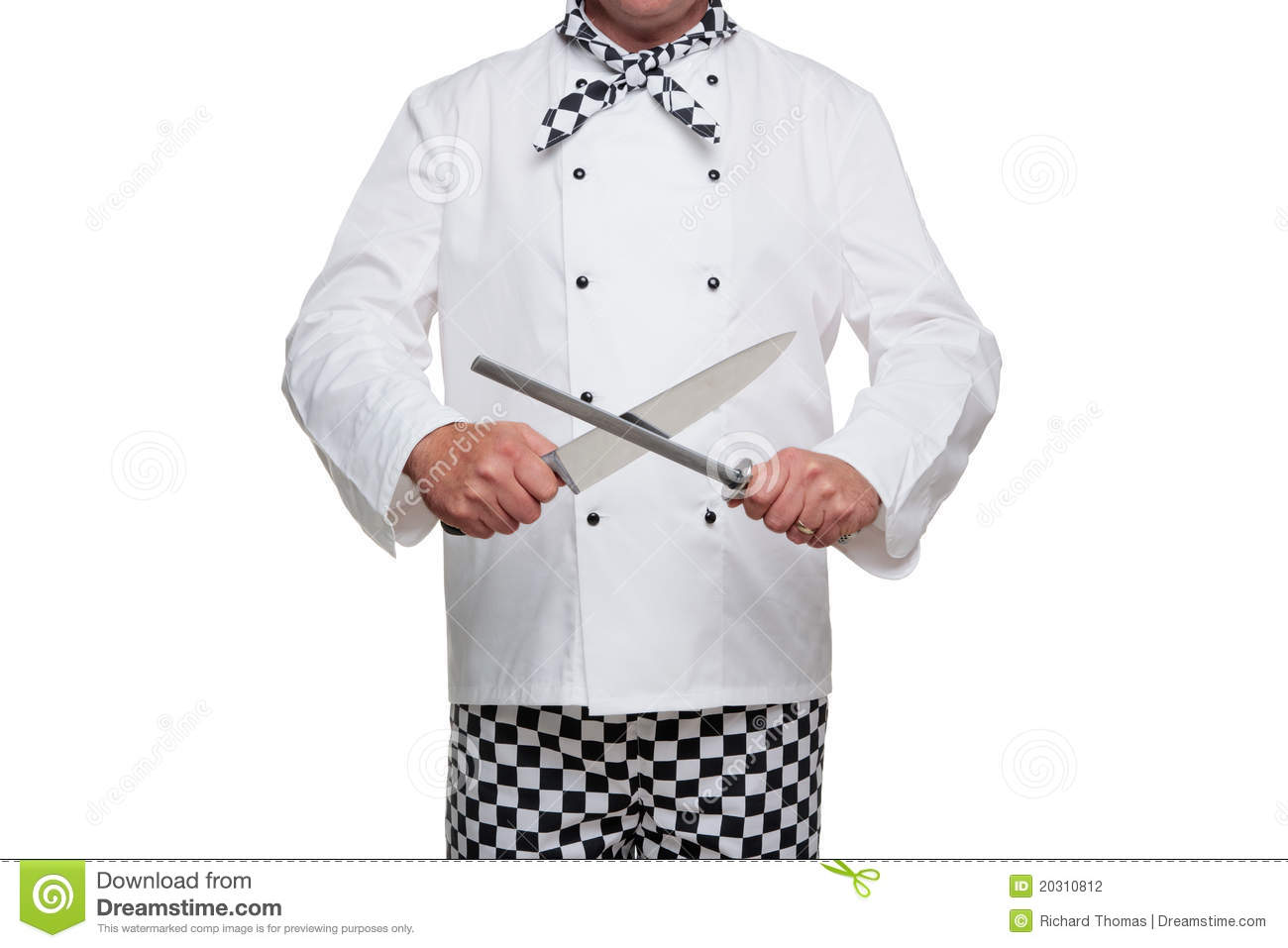 chef sharpening his knife stock photography image 20310812. Black Bedroom Furniture Sets. Home Design Ideas
