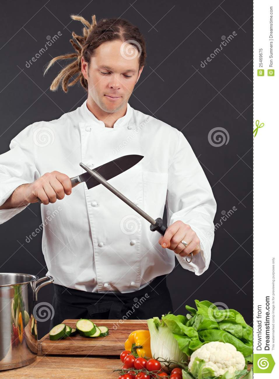 Chef Sharpening His Knife Royalty Free Stock Photo Image