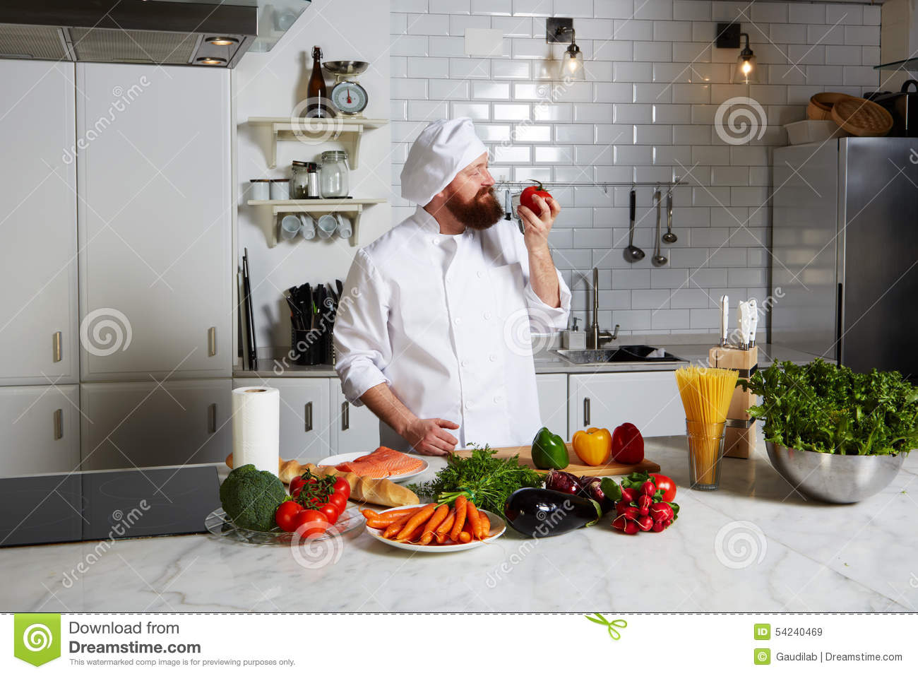 Chef smell aroma of fresh tomato stock photo image 54240469 for Fresh chef kitchen