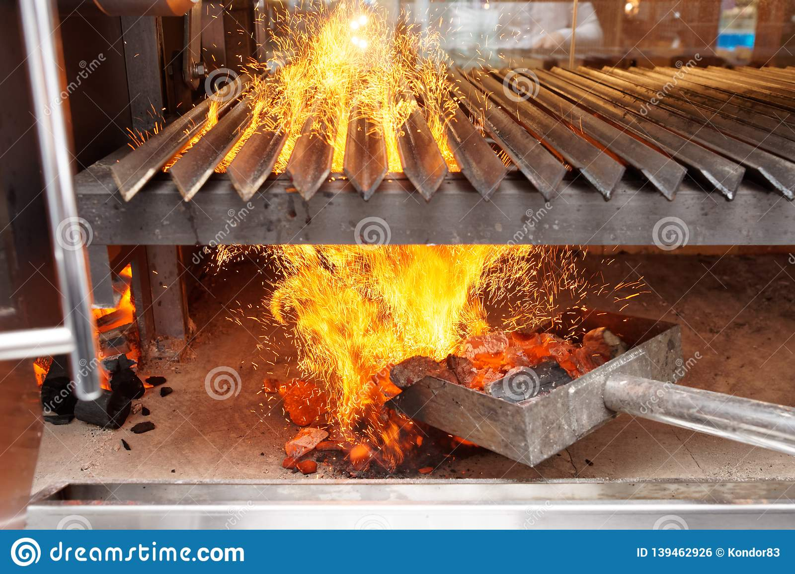 Chef Is Starting Up Charcoal Grill Stock Photo Image Of Barbecue Ignition 139462926