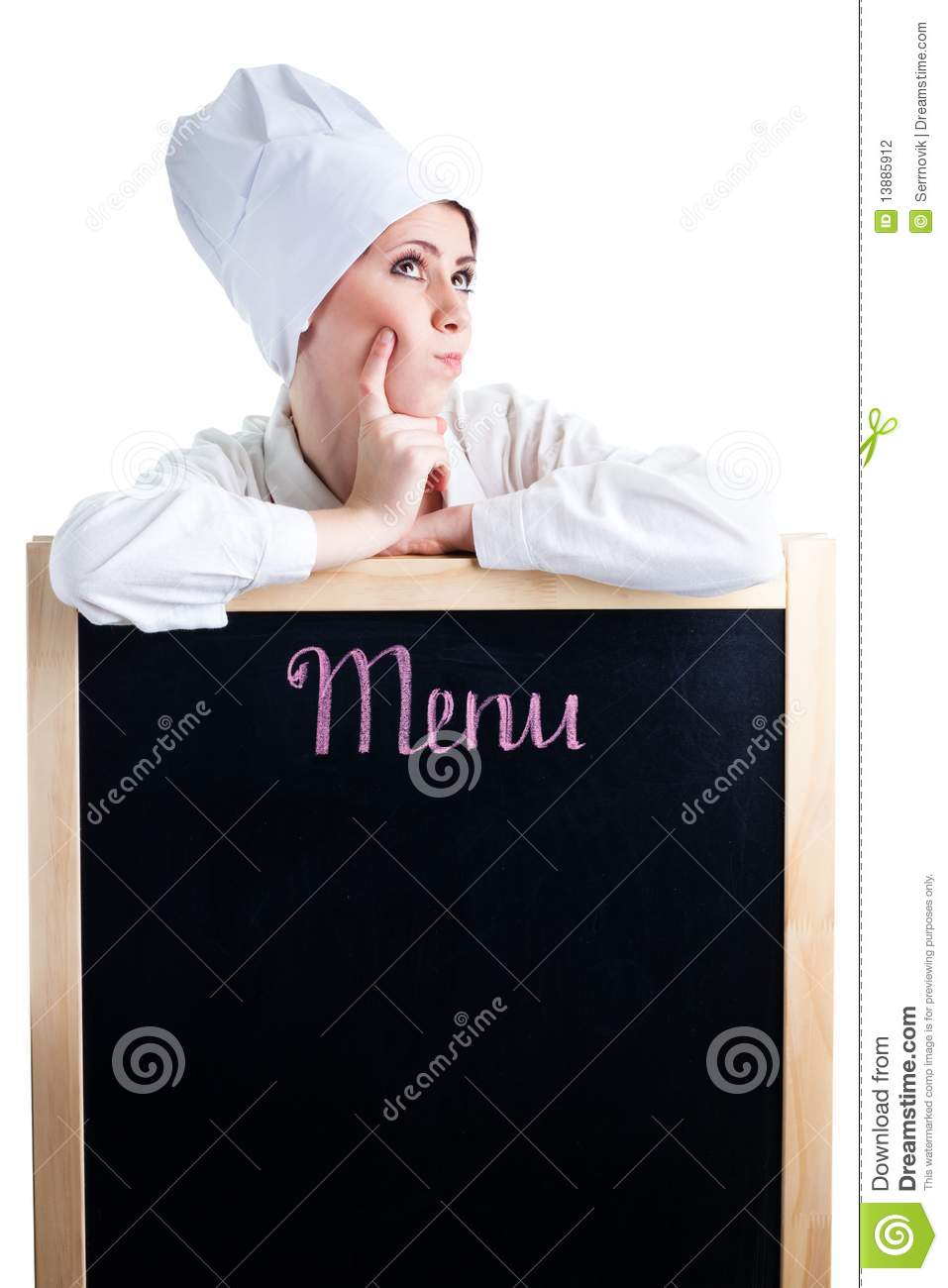 Download Chef Thinking About Lunch Menu Stock Photo - Image of person, chef: 13885912