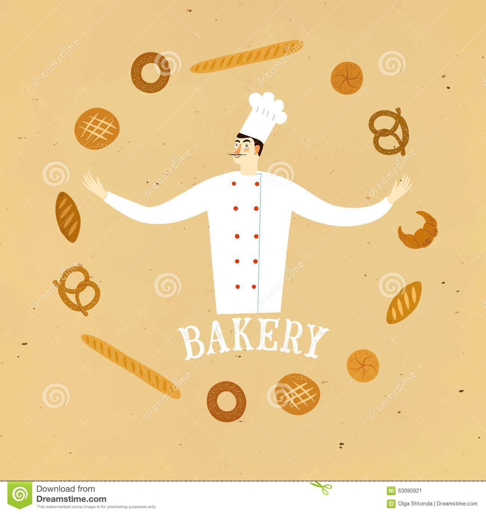 Download Chef Tiré Par La Main De Boulanger Avec Le Logo Illustration Stock - Illustration du cartoon, culinaire: 63080921