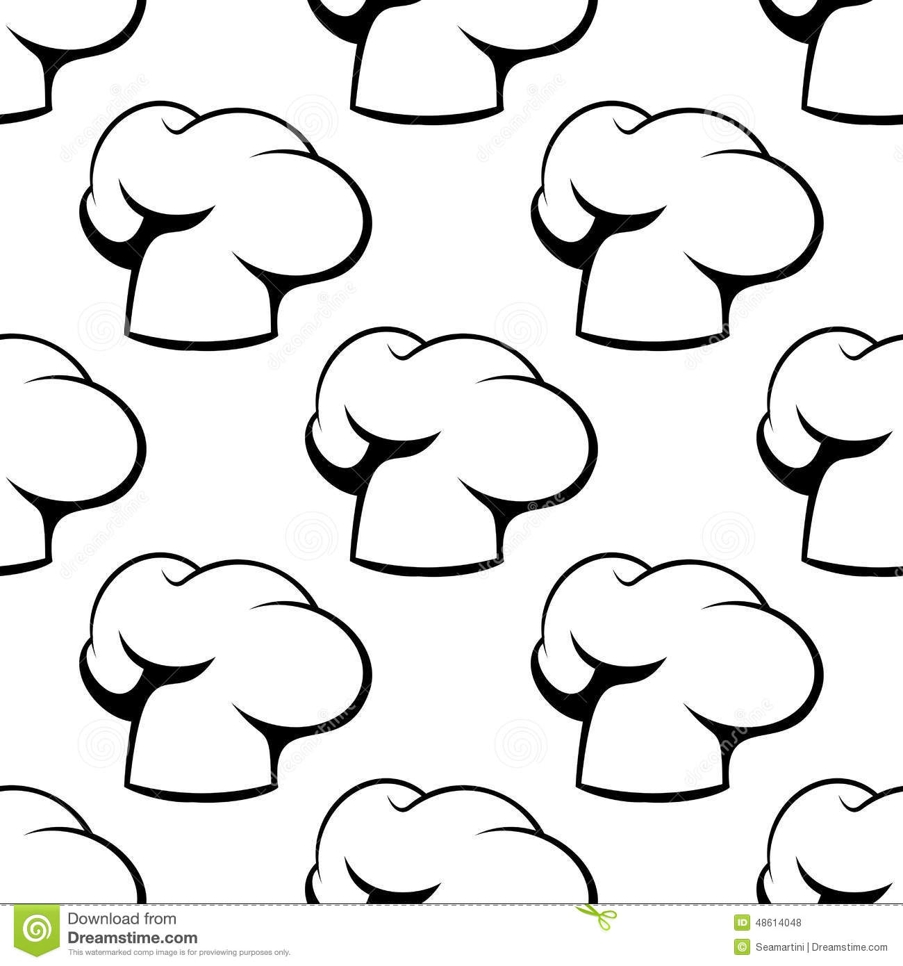 876119b7022 Chef Toque Outline Seamless Pattern Stock Vector - Illustration of ...