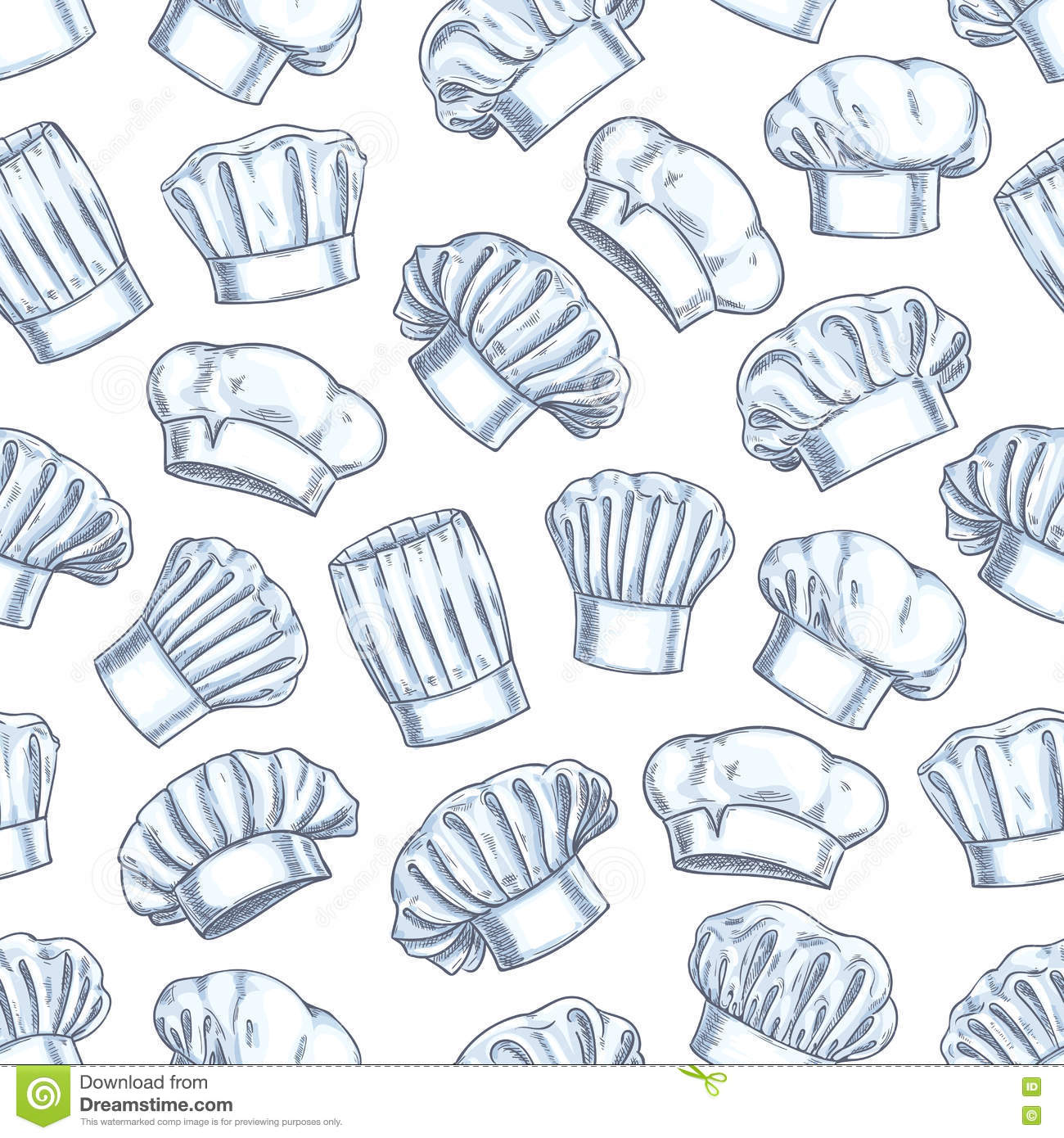 00fcc6a279c Chef toques seamless background. Wallpaper with vector pattern icons of  restaurant cook caps. Pencil sketch decoration for restaurant