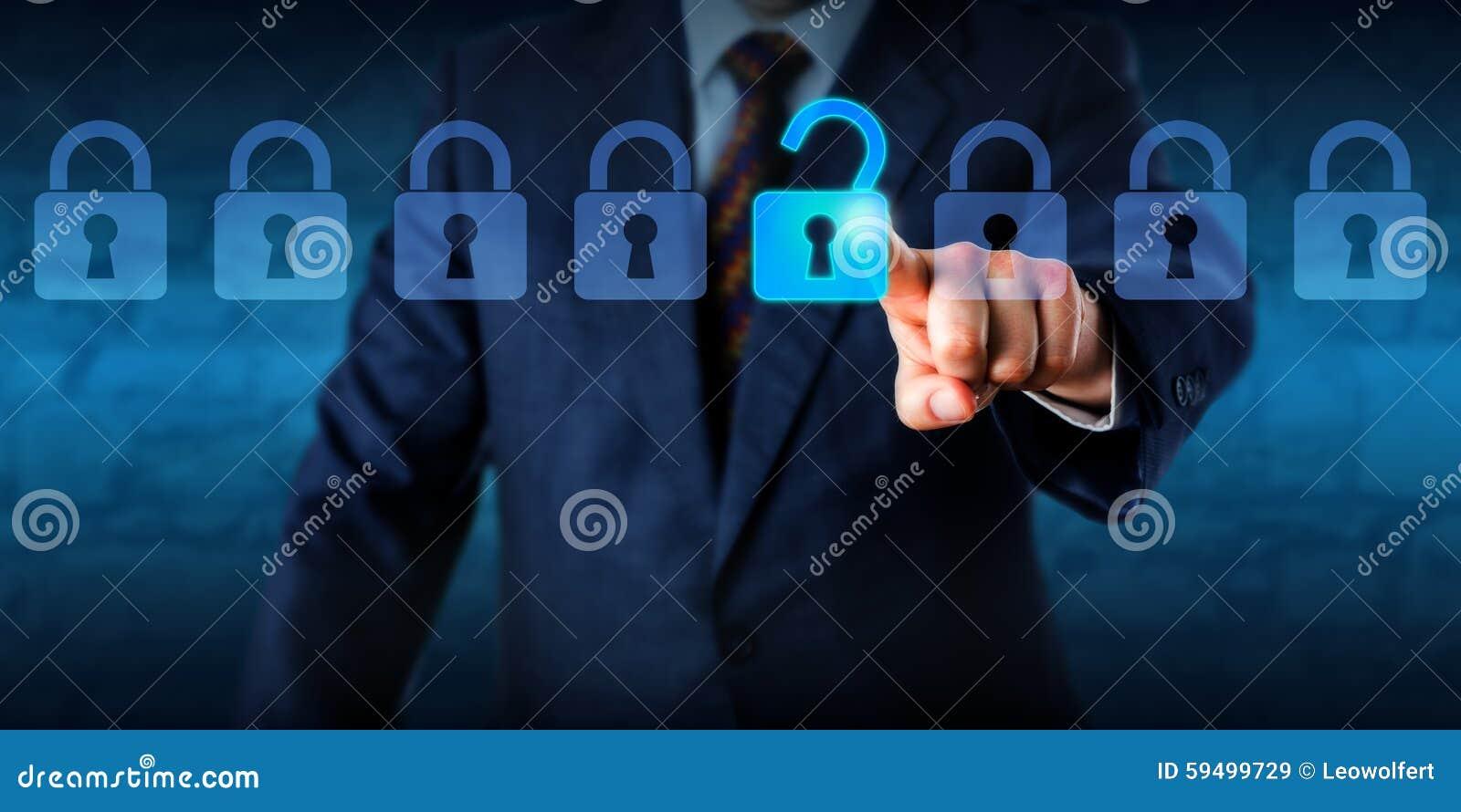 Chef Unlocking ett faktiskt lås i en Lineup
