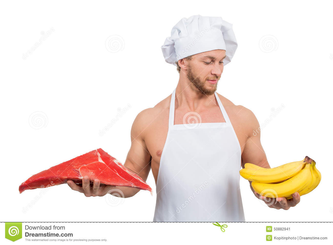 White apron meats - Chef In A White Apron Holding Meat And Bananas