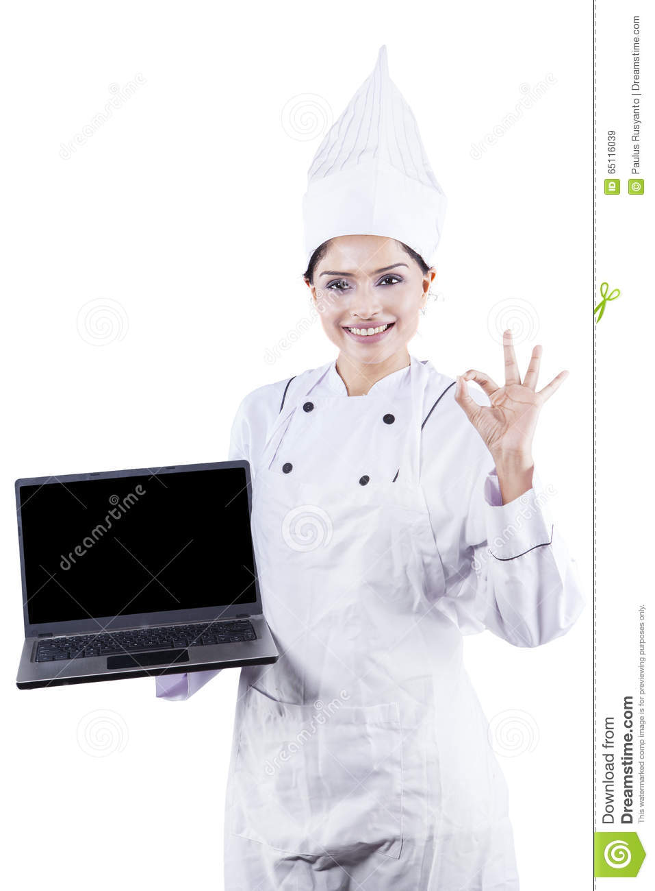 Chef Woman Showing Laptop Computer