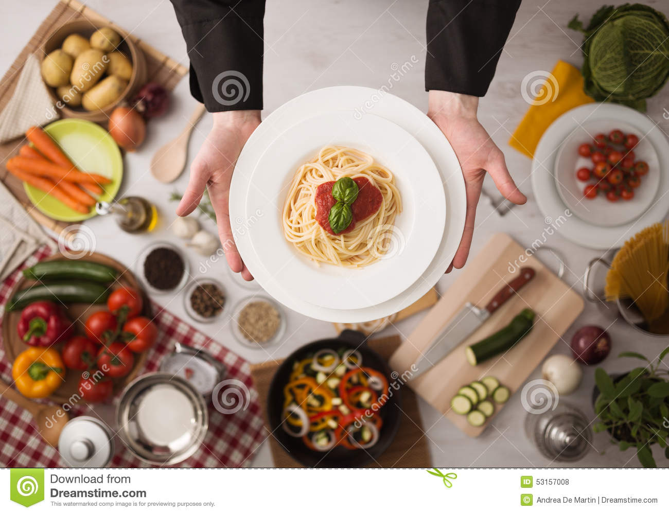 Chef At Work Cooking Pasta Stock Photo Image Of Diet
