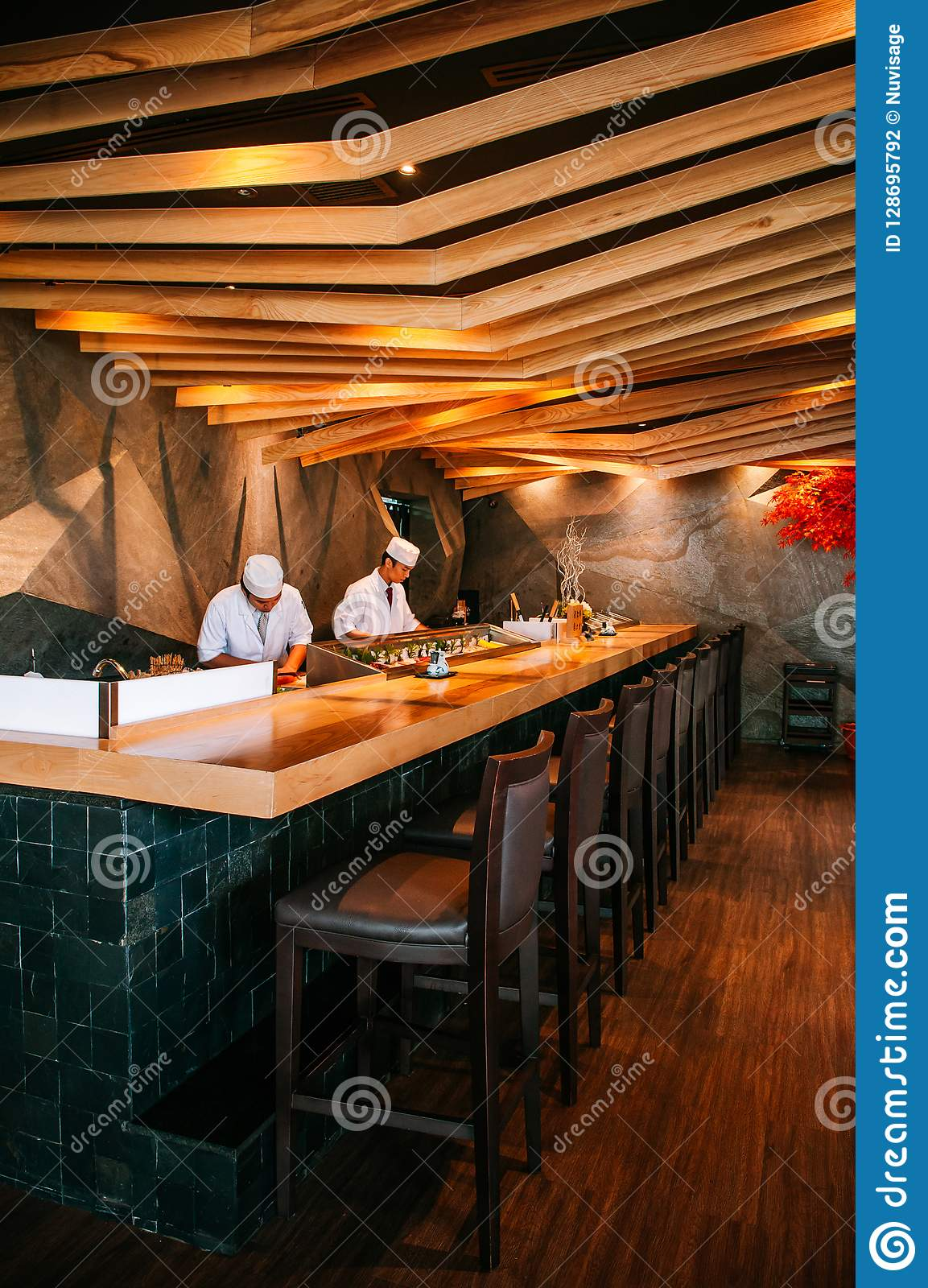 Chef Working At Japanese Sushi Bar With Vaibrant Interior Wood Editorial Photography Image Of Cozy Chairs 128695792