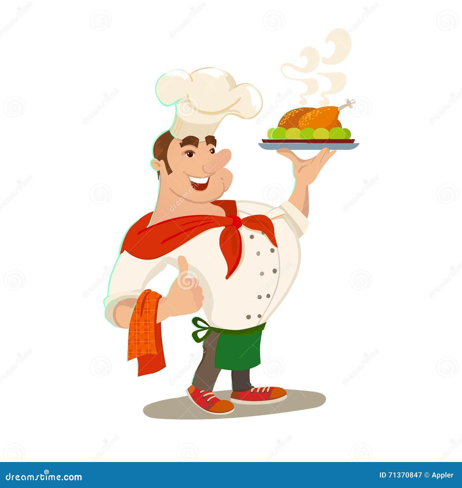 Chefe com o prato de galinha cozido