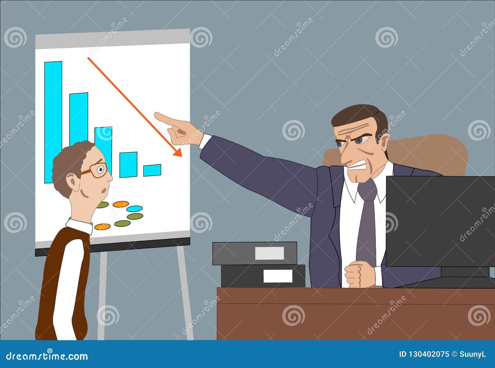 Chefe irritado com empregado Preocupações do diretor sobre resultados pobres e e ponto no diagrama no flipchart no escritório