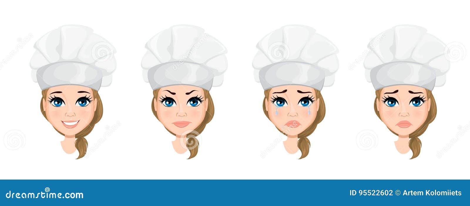 Cheffrauengesicht mit verschiedenen Gefühlen set Netter Zeichentrickfilm-Figur-Koch