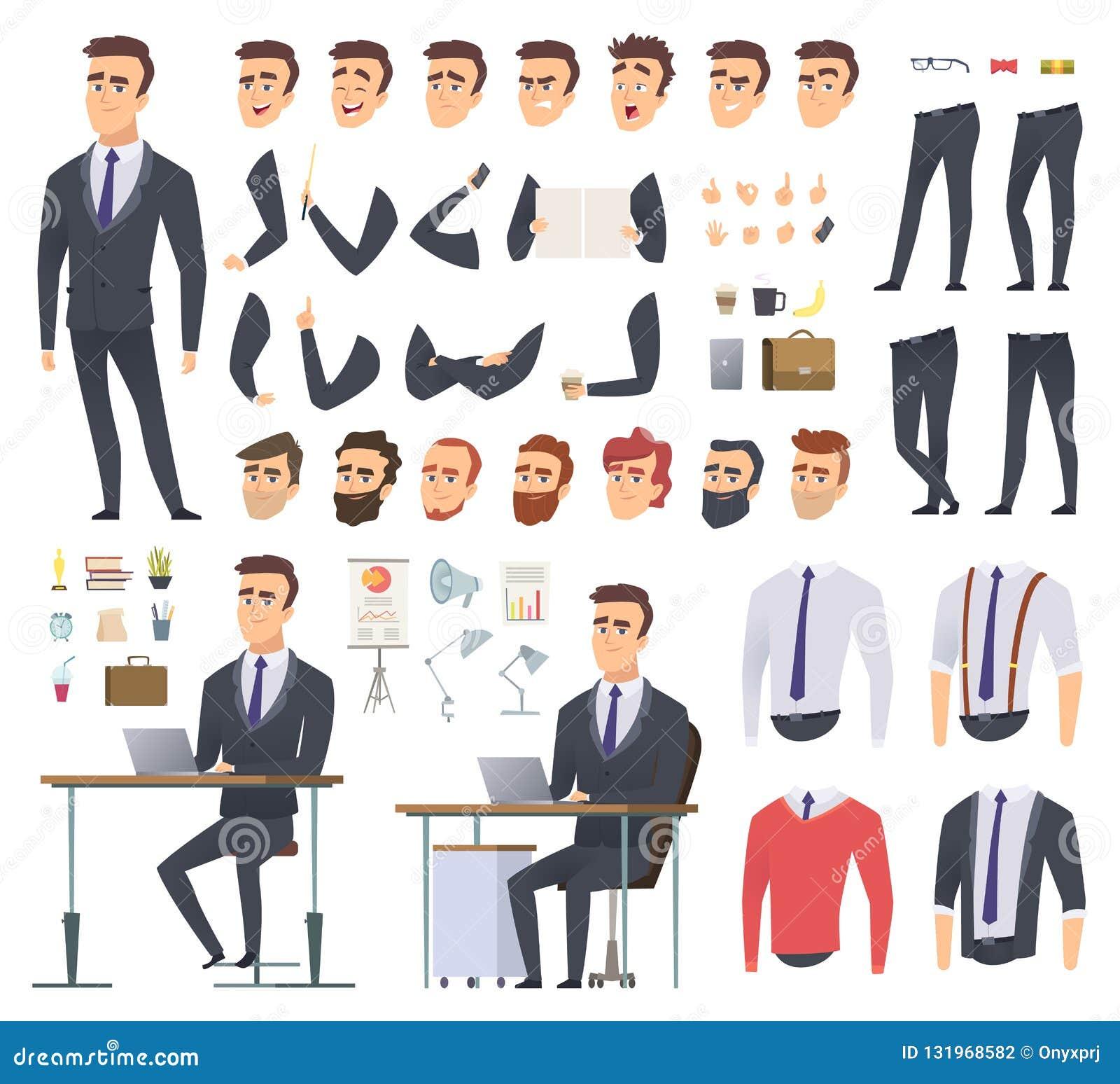 Chefskapelsesats Projekt för animering för manligt tecken för vektor för kläder och för objekt för händer för armar för affärsman