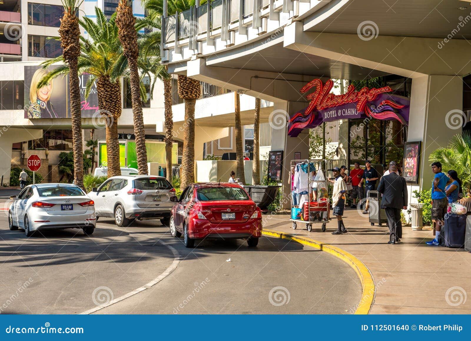 Chegada & partida do turista do flamingo Hilton