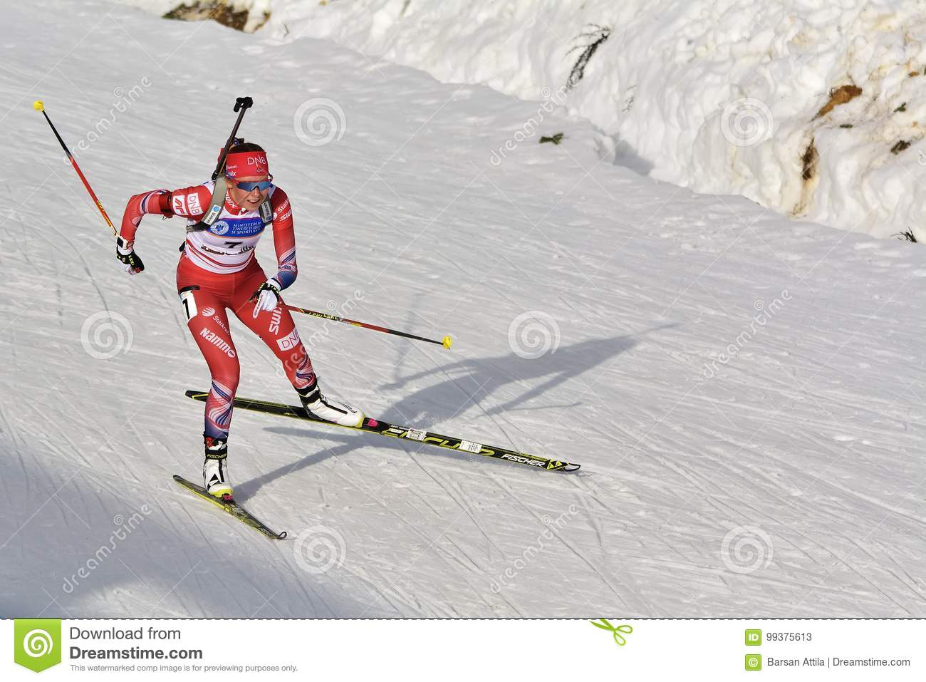 Cheile Gradistei, Roamania - 30 de enero: Competidor desconocido en IBU Youth& Junior World Championships Biathlon