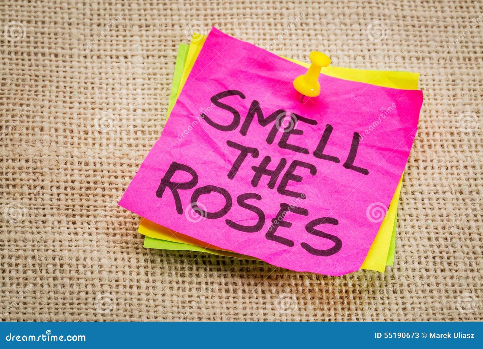 Cheire a nota do lembrete das rosas