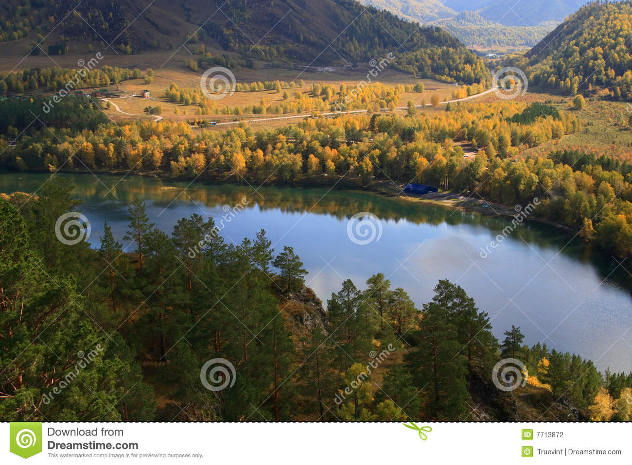 Scenic view of autumn trees reflected in Chemal lake, Altai Republic ...
