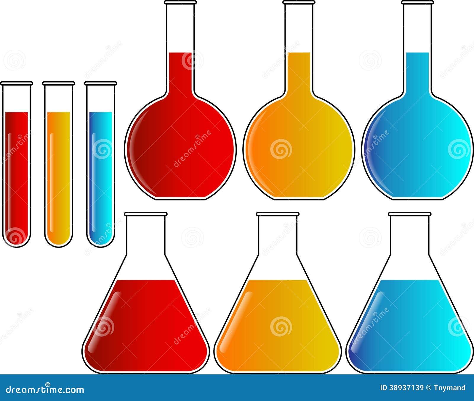Chemestry Flasks Beakers Test Tubes Set Vector Stock