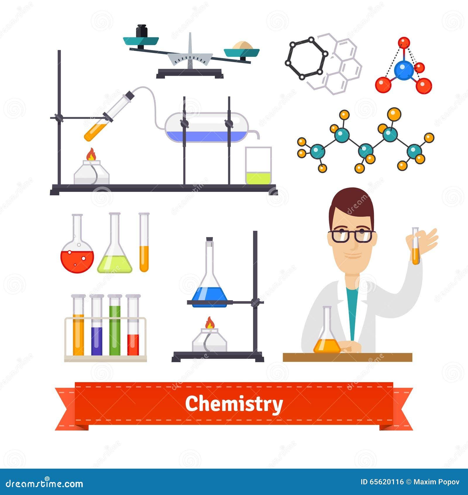 Chemia chemika i wyposażenia colourful set