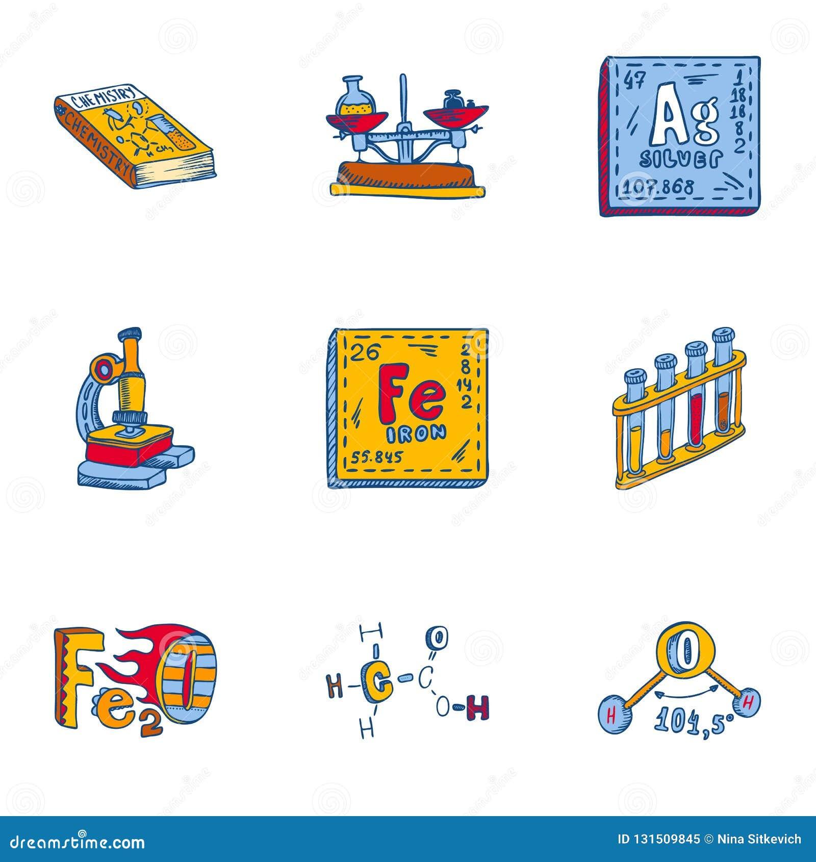 Chemia elementu ikony set, ręka rysujący styl