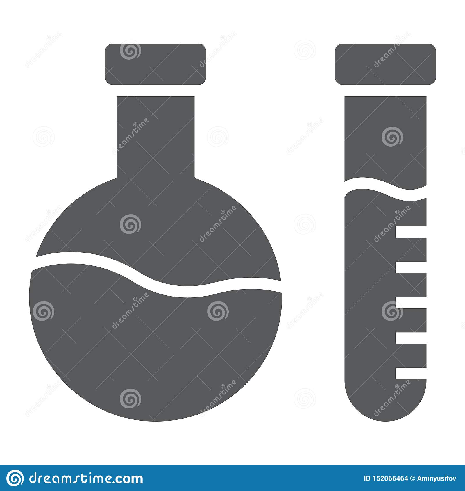 Chemical analysis glyph icon, laboratory and flask, tube test sign, vector graphics, a solid pattern on a white