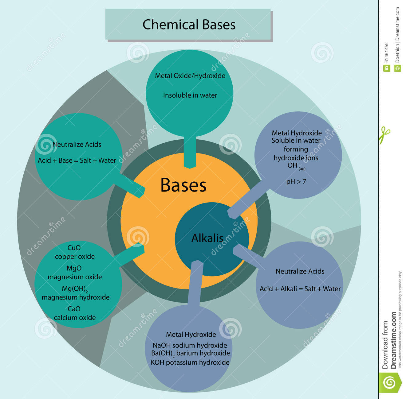 Chemical Bases And Alkalis Summarisied In Diagram Form