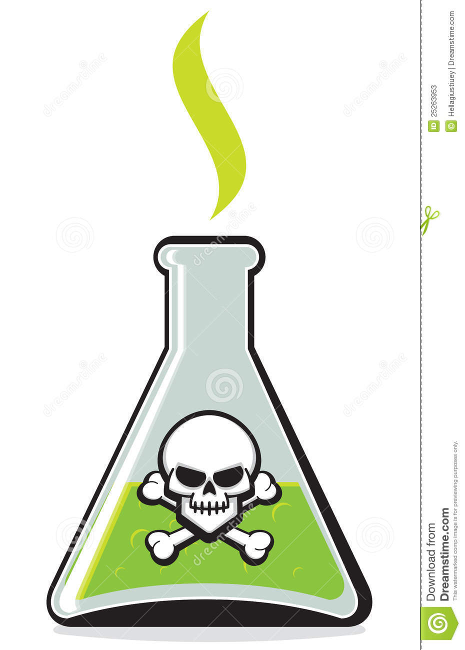 ... bottle with green dangerous liquid in it with skull and crossbones