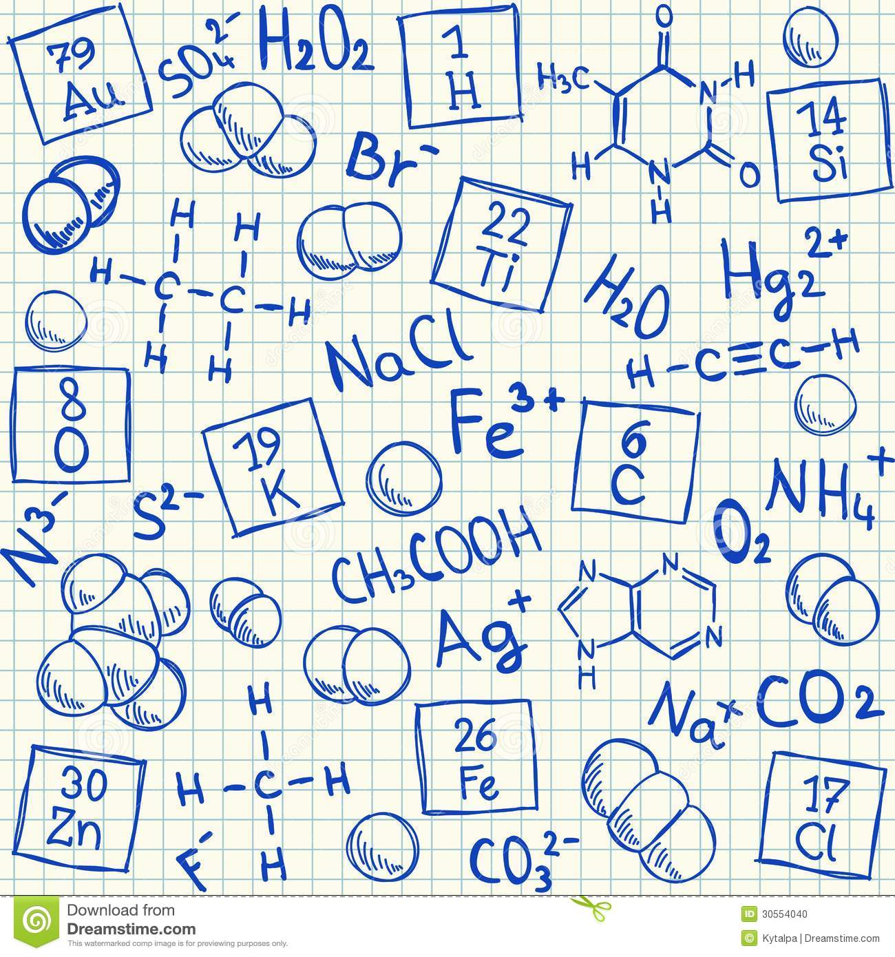 Chemical Doodles On School Squared Paper Stock Photo