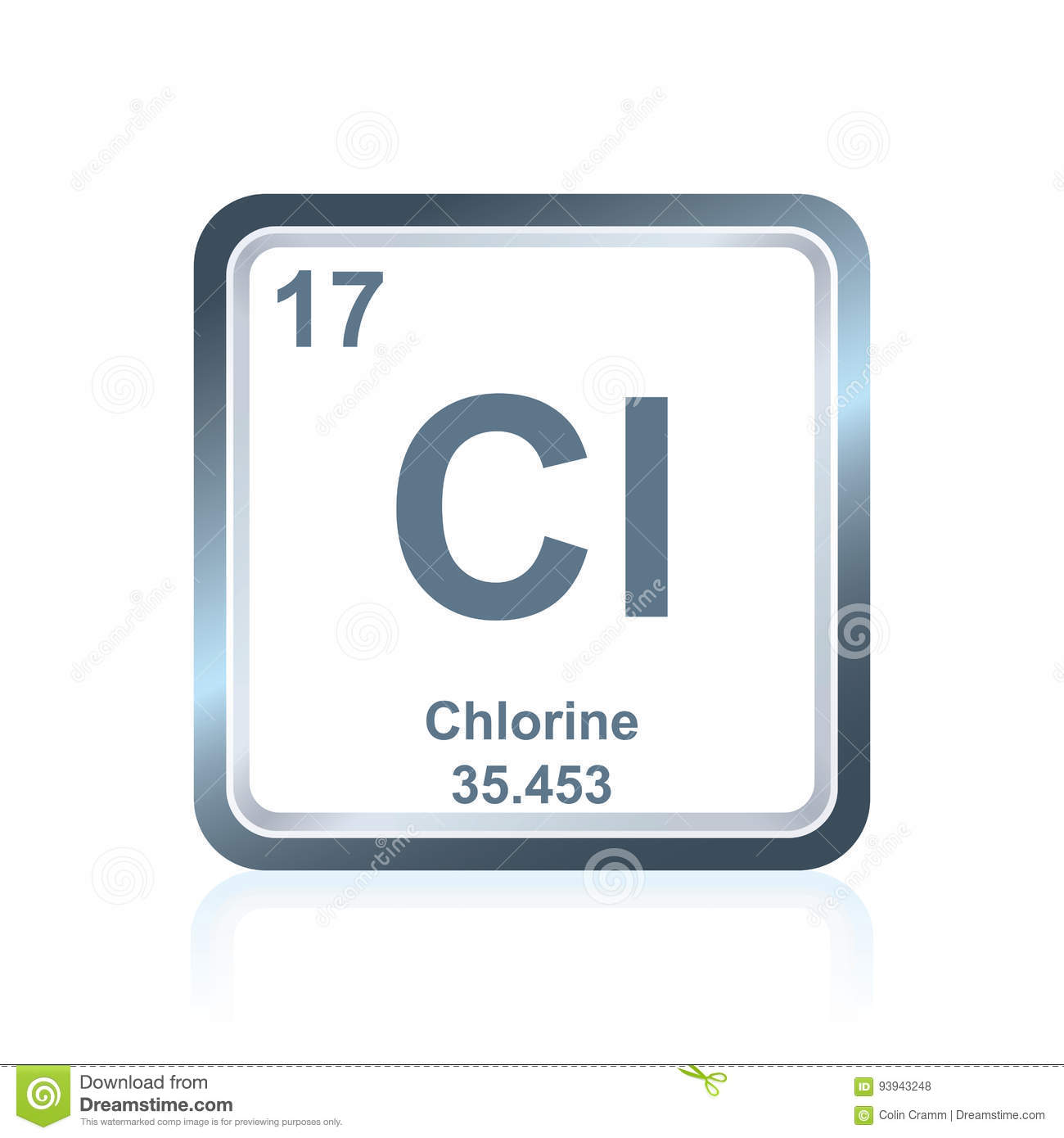 Chemical Element Chlorine From The Periodic Table Stock Vector
